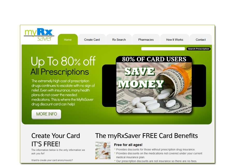 MyRxSaver.com is hosted and promoted by CCI, saving people 80% on prescription medications.