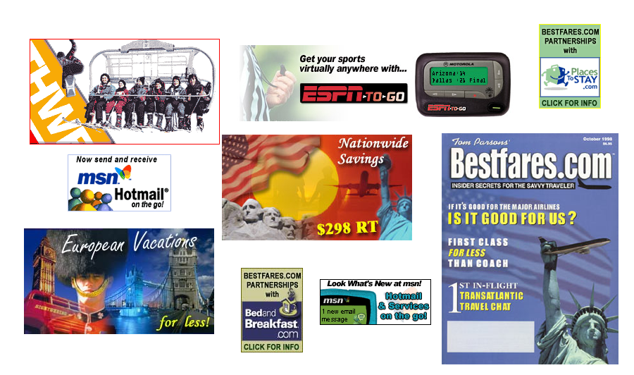 MSN, ESPN, Southwest & Bestfares.com web and print ads created by our lead designers.